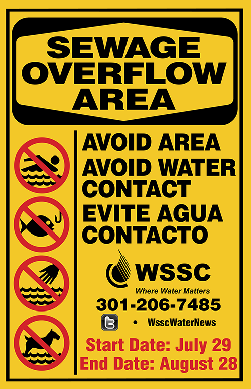 Sewage Overflow Area Sign