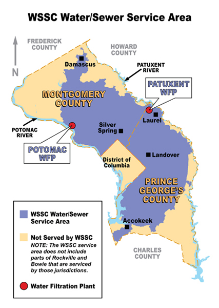 WSSC Water and Sewer service Areas Map