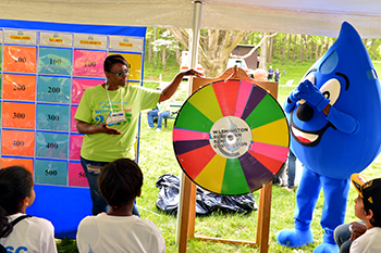 spin the wheel at the children's water festival